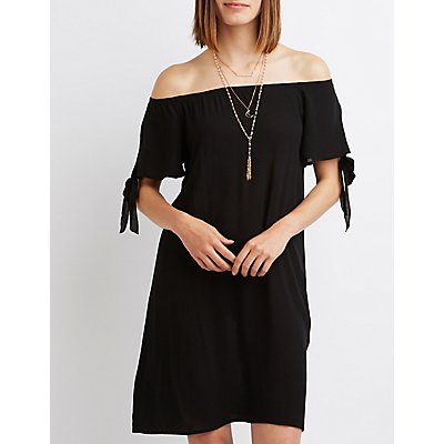 Off-The-Shoulder Tie Sleeve Dress