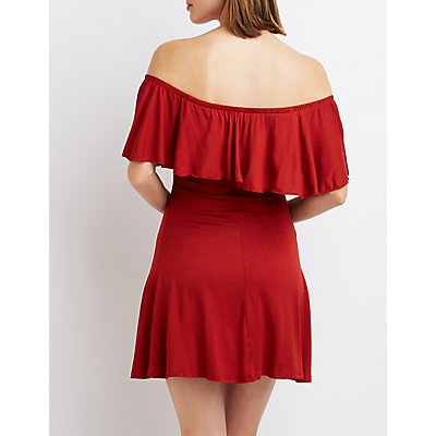 Ruffle Off-The Shoulder Swing Dress