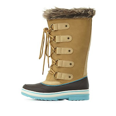 Faux Fur-Lined Duck Boots