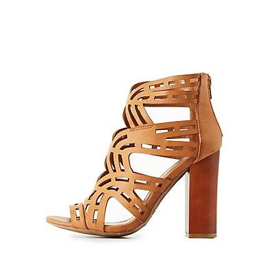 Bamboo Laser Cut Chunky Heel Sandals