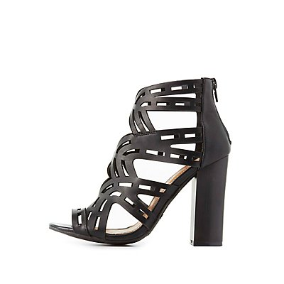 Bamboo Laser Cut Chunky Heel Sandals