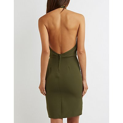 Mock Neck Zipper Detail Dress