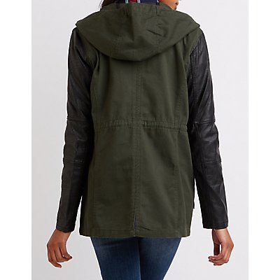 Faux Leather-Sleeve Hooded Anorak Jacket