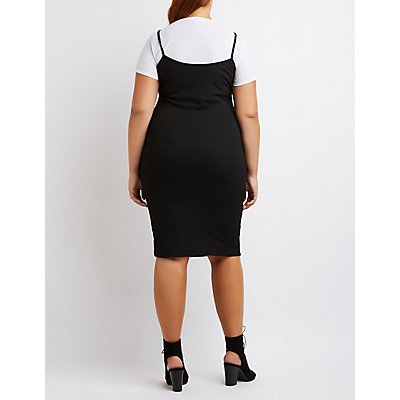 Plus Size Ribbed Layered Dress