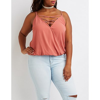Plus Size Lattice Surplice Tank Top
