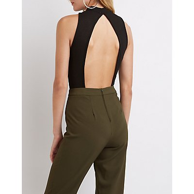 Mock Neck Open Back Bodysuit