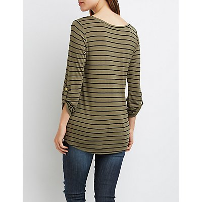 Striped Scoop Neck Pocket Tee