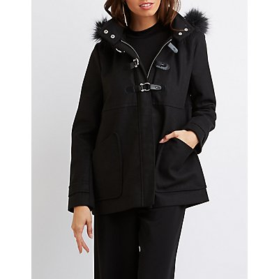 Faux Fur-Trim Hooded Coat