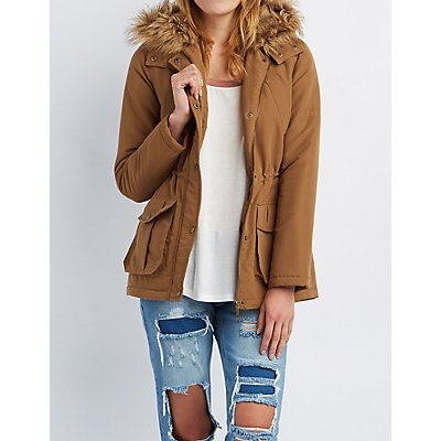 Faux Fur-Trim Hooded Anorak Jacket