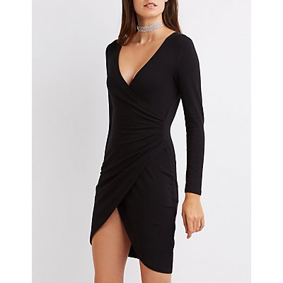 Surplice Bodycon Wrap Dress