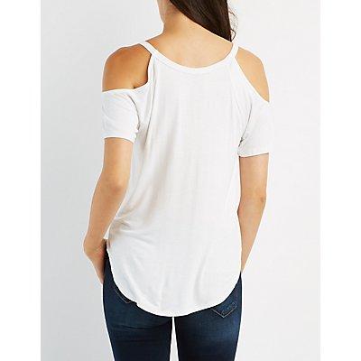V-Neck Cold Shoulder Top