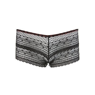 Plus Size Lace Cut-Out Boyshort Panties