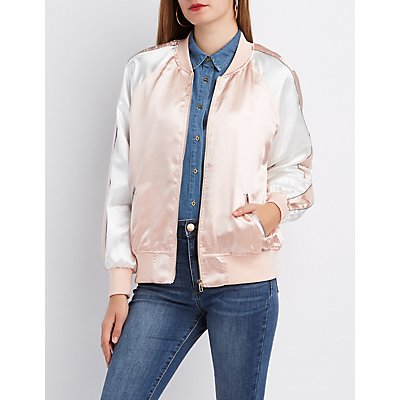 Satin Colorblock Bomber Jacket