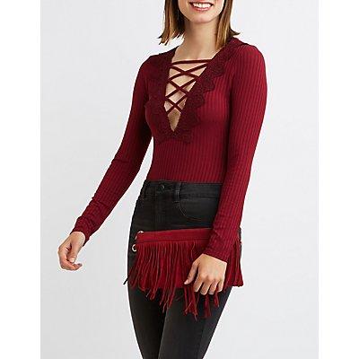 Crochet-Trim Lattice Bodysuit