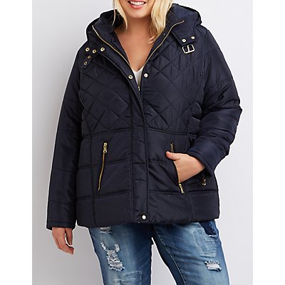 Plus Size Quilted Hooded Puffer Jacket