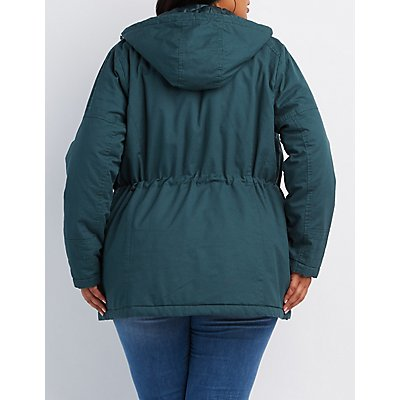 Plus Size Quilted-Trim Hooded Anorak Jacket