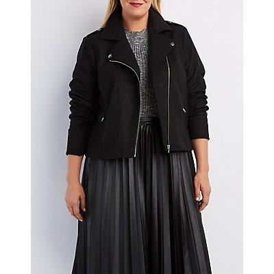 Plus Size Wool Blend Moto Jacket