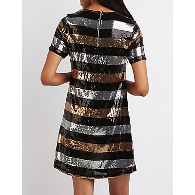 Striped Sequin Shift Dress