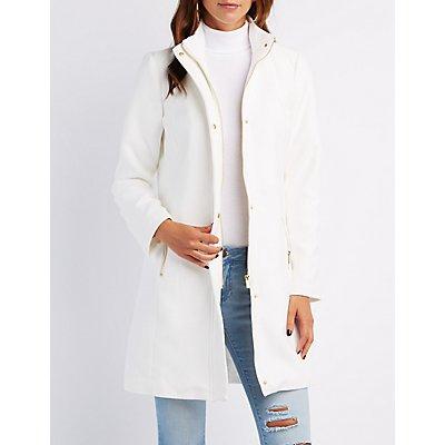 Funnel Collar Wool Blend Coat