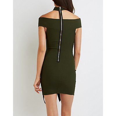 Floating Mock Neck Bodycon Dress