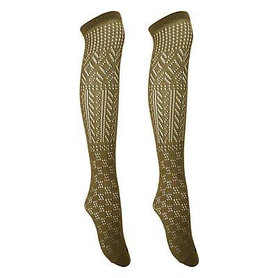 Open Knit Over-The-Knee Socks