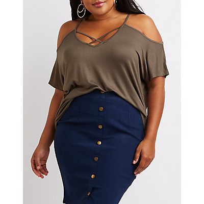 Plus Size Caged Cold Shoulder Tee