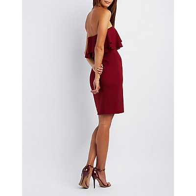 Ruffled Strapless Party Dress