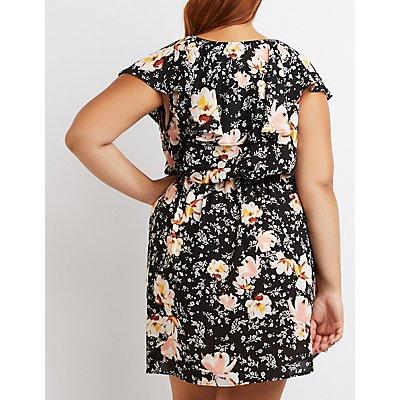 Plus Size Floral Ruffle Surplice Dress