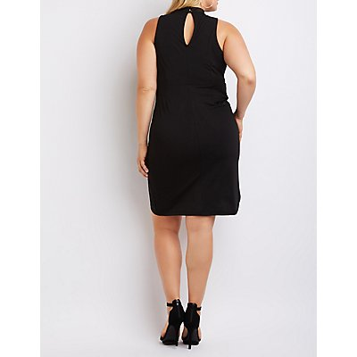Plus Size Mock Neck Knotted Bodycon Dress