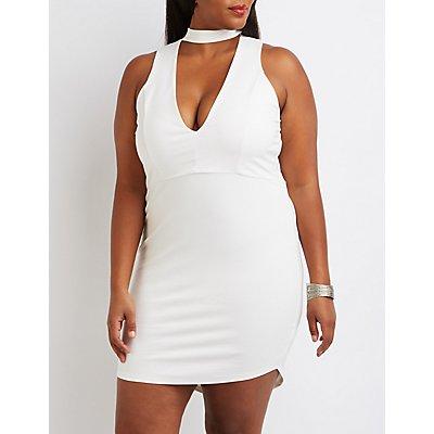 Plus Size Choker Detail Bodycon Dress