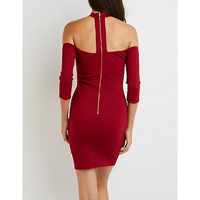 Caged Mock Neck Off-The-Shoulder Dress