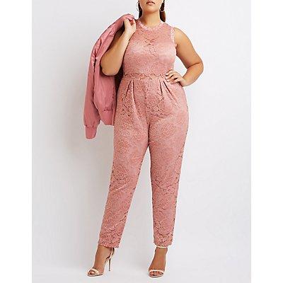 Plus Size Lace Surplice Jumpsuit