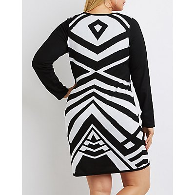 Plus Size Geometric Sweater Dress