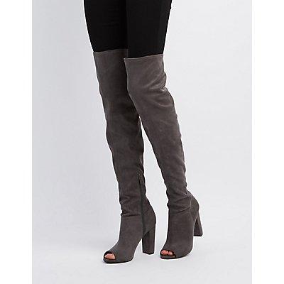 Peep Toe Thigh-High Boots