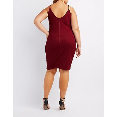 Plus Size Caged Lattice-Front Bodycon Dress