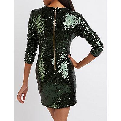 Sequin V-Neck Bodycon Dress