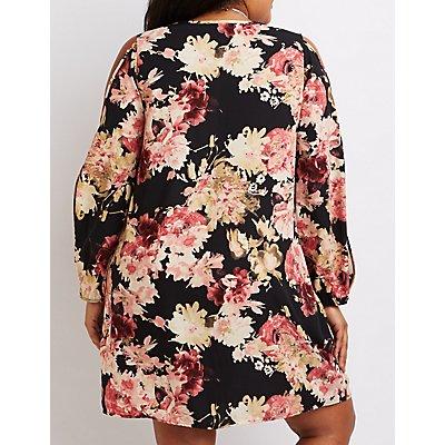 Plus Size Floral Cold Shoulder Shift Dress