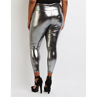 Plus Size Metallic Liquid Leggings
