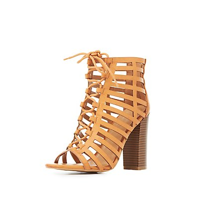 Bamboo Laser Cut Lace-Up Booties