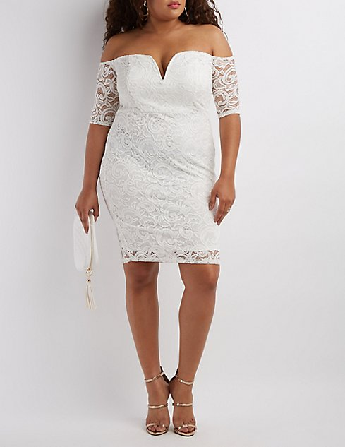 Plus Size Lace Off-The-Shoulder Bodycon Dress | Charlotte Russe