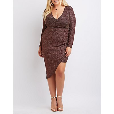 Plus Size Shimmer Asymmetrical Wrap Dress