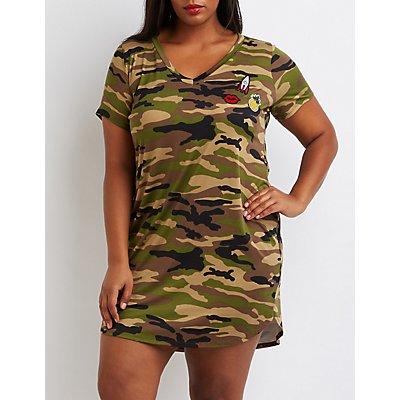 Plus Size Patched Camo T-Shirt Dress