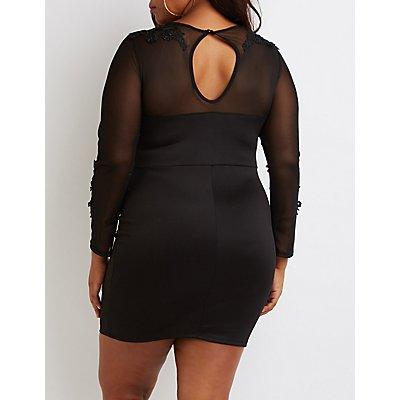 Plus Size Crochet & Mesh Trim Bodycon Dress
