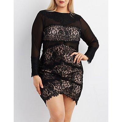Plus Size Lace & Mesh Asymmetrical Bodycon Dress