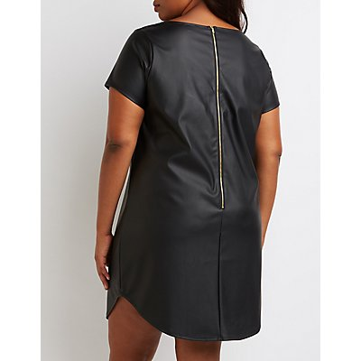 Plus Size Faux Leather Shift Dress