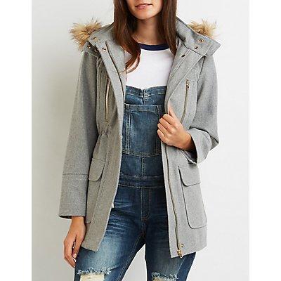 Wool Faux Fur-Trim Anorak Jacket