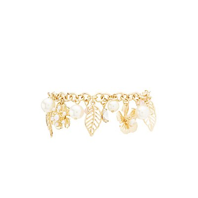 Leaf, Flower & Pearl Bead Charm Bracelet