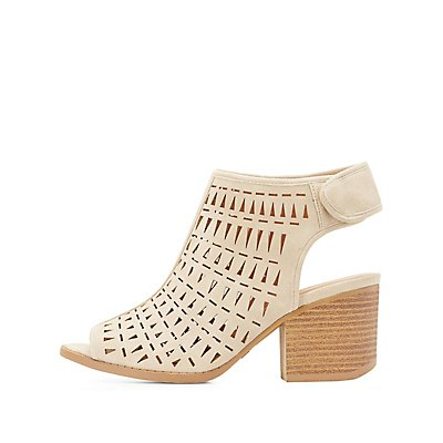 Qupid Laser Cut Slingback Sandals