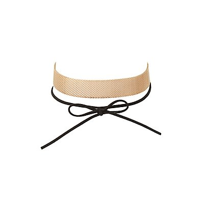 Chainlink & Faux Suede Choker Necklaces - 2 Pack