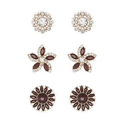 Gem & Rhinestone Flower Earrings - 3 Pack